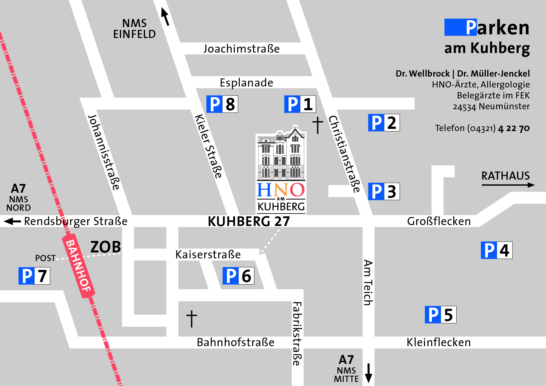 Anfahrt- und Parpklan HNO am Kuhberg